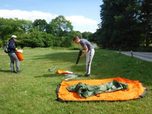 Setting up camp.